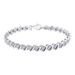 1/2 CTW Womens Round Diamond Tennis Bracelet 10kt White Gold - REF-88R5X
