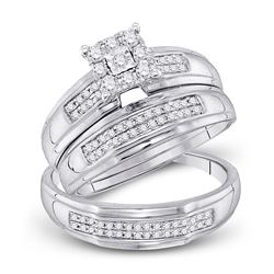 1/3 CTW His Hers Round Diamond Cluster Matching Wedding Set 10kt White Gold - REF-46M3F