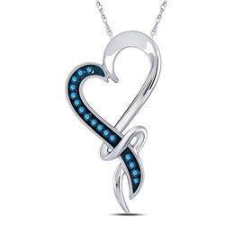 1/10 CTW Womens Round Blue Color Enhanced Diamond Heart Pendant 10kt White Gold - REF-9R5X
