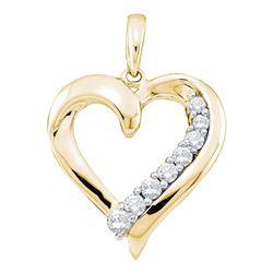 1/4 CTW Womens Round Diamond Heart Pendant 14kt Yellow Gold - REF-23R3X
