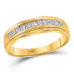 3/4 CTW Mens Princess Diamond Wedding Single Row Band Ring 10kt Yellow Gold - REF-54F5W