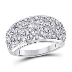 3/8 CTW Womens Round Diamond Scattered Fashion Ring 14kt White Gold - REF-64X8T