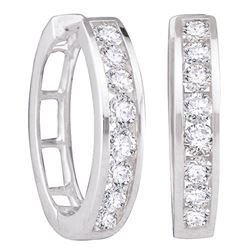 1 CTW Womens Round Diamond Hoop Earrings 14kt White Gold - REF-105T7V