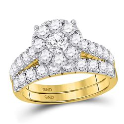 2 CTW Round Diamond Bridal Wedding Ring 14kt Yellow Gold - REF-207H8R