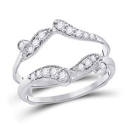 1/3 CTW Womens Round Diamond Bypass Wrap Ring 14kt White Gold - REF-45R2X
