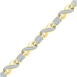 1 CTW Womens Round Diamond Link Infinity Bracelet 10kt Yellow Gold - REF-109A2M