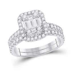 1 & 1/2 CTW Baguette Diamond Bridal Wedding Ring 14kt White Gold - REF-134R4X