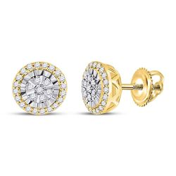 1/4 CTW Womens Round Diamond Cluster Earrings 14kt Yellow Gold - REF-28W5H