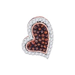 1/8 CTW Womens Round Red Color Enhanced Diamond Heart Pendant 10kt Rose Gold - REF-13Y5N