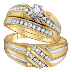 1/3 CTW His Hers Round Diamond Solitaire Matching Wedding Set 10kt Yellow Gold - REF-50Y4N