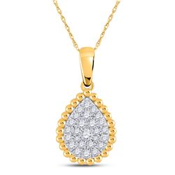 1/8 CTW Womens Round Diamond Teardrop Cluster Pendant 10kt Yellow Gold - REF-13F5W