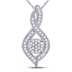 1/6 CTW Womens Round Diamond Nested Cluster Pendant 10kt White Gold - REF-13W5H