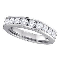 1 CTW Womens Round Channel-set Diamond Single Row Wedding Band Ring 14kt White Gold - REF-131V5Y