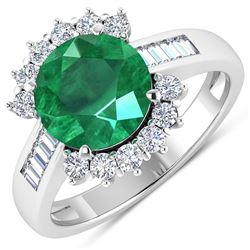 Natural 3.18 CTW Zambian Emerald & Diamond Ring 14K White Gold - REF-157M7T