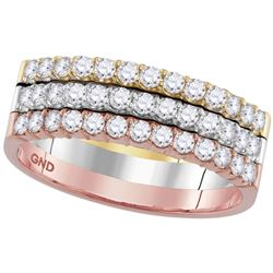 3/4 CTW Womens Round Diamond Triple Row Band Ring 14kt Tri-Tone Gold - REF-95A5M
