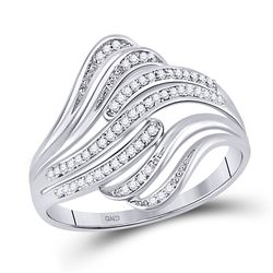 1/12 CTW Womens Round Diamond Stripe Fashion Ring 10kt White Gold - REF-17R3X