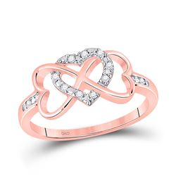 1/10 CTW Womens Round Diamond Triple Heart Infinity Ring 10kt Rose Gold - REF-18A5M