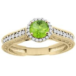 0.99 CTW Peridot & Diamond Ring 14K Yellow Gold - REF-57N2Y