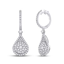 1 & 1/2 CTW Womens Round Diamond Cluster Teardrop Earrings 14kt White Gold - REF-136W4H