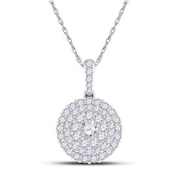 1/2 CTW Womens Round Diamond Cluster Pendant 14kt White Gold - REF-37X5T