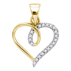 1/10 CTW Womens Round Diamond Heart Pendant 10kt Yellow Gold - REF-9X5T