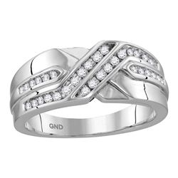 1/4 CTW Mens Round Diamond Two Row Wedding Anniversary Band Ring 10kt White Gold - REF-39H5R