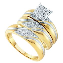 1/3 CTW His Hers Round Diamond Square Matching Wedding Set 10kt Yellow Gold - REF-58X5T
