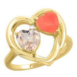 0.61 CTW Morganite & Diamond Ring 10K Yellow Gold - REF-26H2M