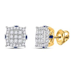 5/8 CTW Womens Round Diamond Blue Sapphire Square Earrings 14kt Yellow Gold - REF-59V9Y
