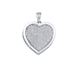 3/4 CTW Womens Round Diamond Heart Pendant 10kt White Gold - REF-47T6V