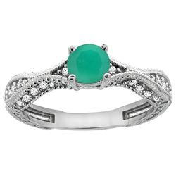 0.76 CTW Emerald & Diamond Ring 14K White Gold - REF-68H9M