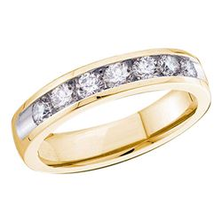 3/4 CTW Womens Round Diamond Channel-set 4mm Wedding Band Ring 14kt Yellow Gold - REF-81H7R