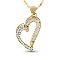 1/4 CTW Womens Round Baguette Diamond Heart Pendant 10kt Yellow Gold - REF-12M2F