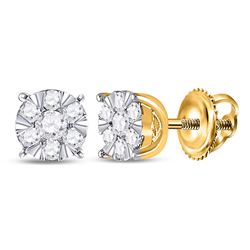 1/4 CTW Womens Round Diamond Flower Cluster Earrings 14kt Yellow Gold - REF-27H3R