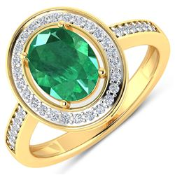 Natural 1.87 CTW Zambian Emerald & Diamond Ring 14K Yellow Gold - REF-81X8K