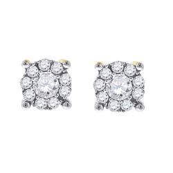1/2 CTW Womens Round Diamond Cluster Earrings 14kt White Gold - REF-47X6T