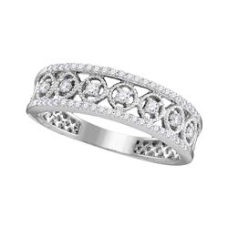 1/3 CTW Womens Round Diamond Filigree Symmetrical Band Ring 10kt White Gold - REF-33X5T