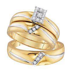 1/5 CTW His Hers Round Diamond Square Matching Wedding Set 10kt Yellow Gold - REF-34X3T