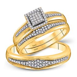 1/3 CTW His Hers Round Diamond Cluster Matching Wedding Set 10kt Yellow Gold - REF-48T5V