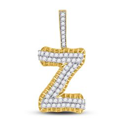 1 & 1/5 CTW Mens Round Diamond Z Letter Charm Pendant 10kt Yellow Gold - REF-72M3F