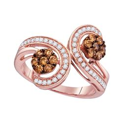 3/4 CTW Womens Round Brown Diamond Bypass Flower Cluster Ring 10kt Rose Gold - REF-45F2W
