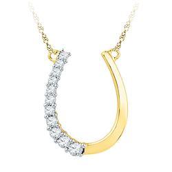 1/5 CTW Womens Round Diamond Horseshoe Pendant 10kt Yellow Gold - REF-24N5A