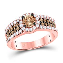 1 & 1/4 CTW Round Brown Diamond Solitaire Bridal Wedding Engagement Ring 14kt Rose Gold - REF-109W2H