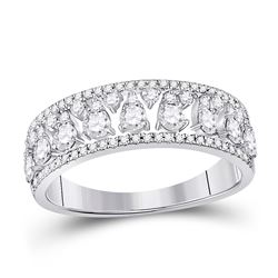 3/4 CTW Womens Round Diamond Band Ring 14kt White Gold - REF-58R2X