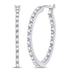 1/4 CTW Womens Round Diamond Slender Single Row Hoop Earrings 10kt White Gold - REF-34T3V
