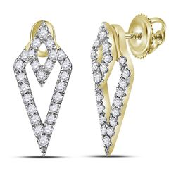 1/3 CTW Womens Round Diamond Triangle Fashion Earrings 14kt Yellow Gold - REF-34Y3N