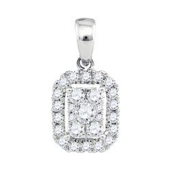 1/3 CTW Womens Round Diamond Cluster Pendant 14kt White Gold - REF-31R4X