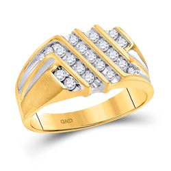 1/2 CTW Mens Round Diamond Stripe Cluster Band Ring 10kt Yellow Gold - REF-47M3F
