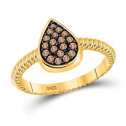 1/5 CTW Womens Round Brown Diamond Teardrop Cluster Ring 10kt Yellow Gold - REF-19F6W