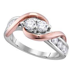 1/2 CTW Round Diamond 2-stone Bridal Wedding Engagement Ring 14kt White Gold - REF-51T2V